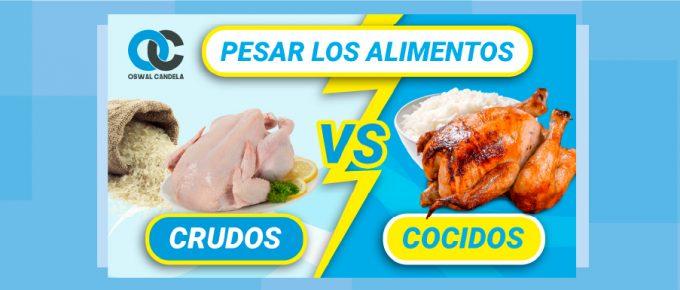 ¿Pesar los alimentos crudos o cocidos